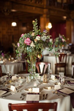 Tall, Organic Rose and Lily of the Valley Centerpieces