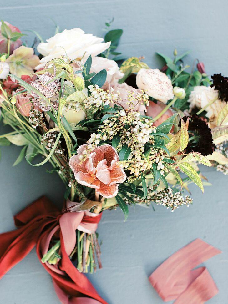 Burgundy-Hued Bouquet at North Carolina Wedding at The Merrimon-Wynne House