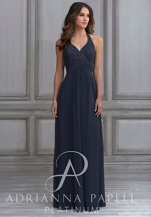 Adrianna Papell Platinum 40118 Halter Bridesmaid Dress