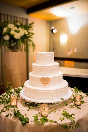 White Four-Tier Wedding Cake With Heart