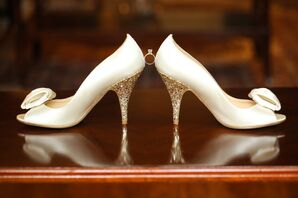 Ivory Wedding Shoes With Gold Glitter Heel