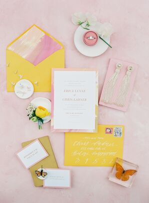 Romantic Pink and Yellow Wedding Invitations with Calligraphy