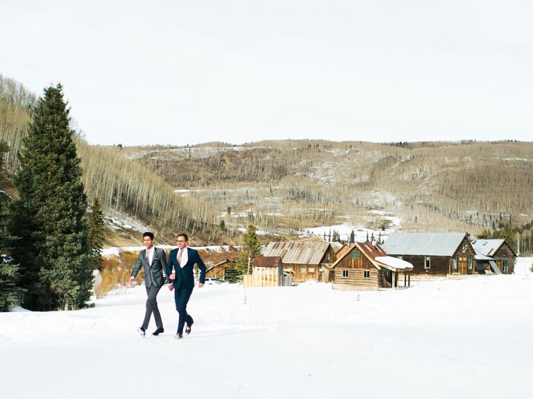 Couple in winter wedding venue