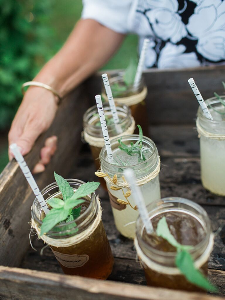 Southern wedding food idea with lemonade cocktails
