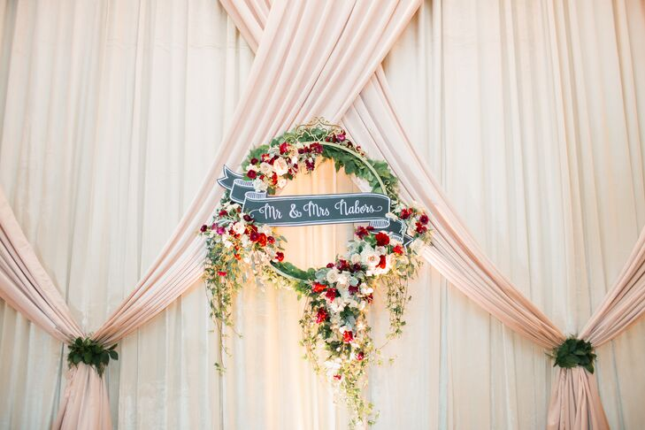 Wreath with Roses and Mr. and Mrs. Sign