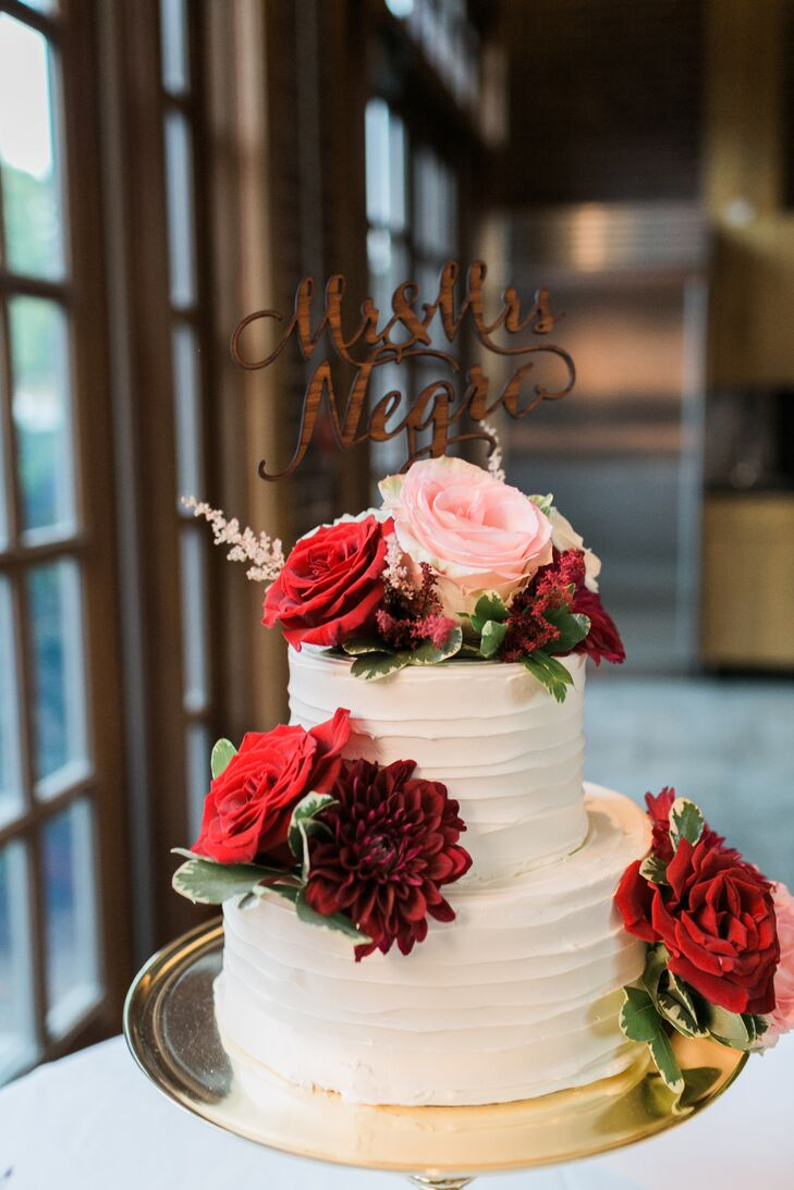 Two-Tier Buttercream Cake with Red Flowers