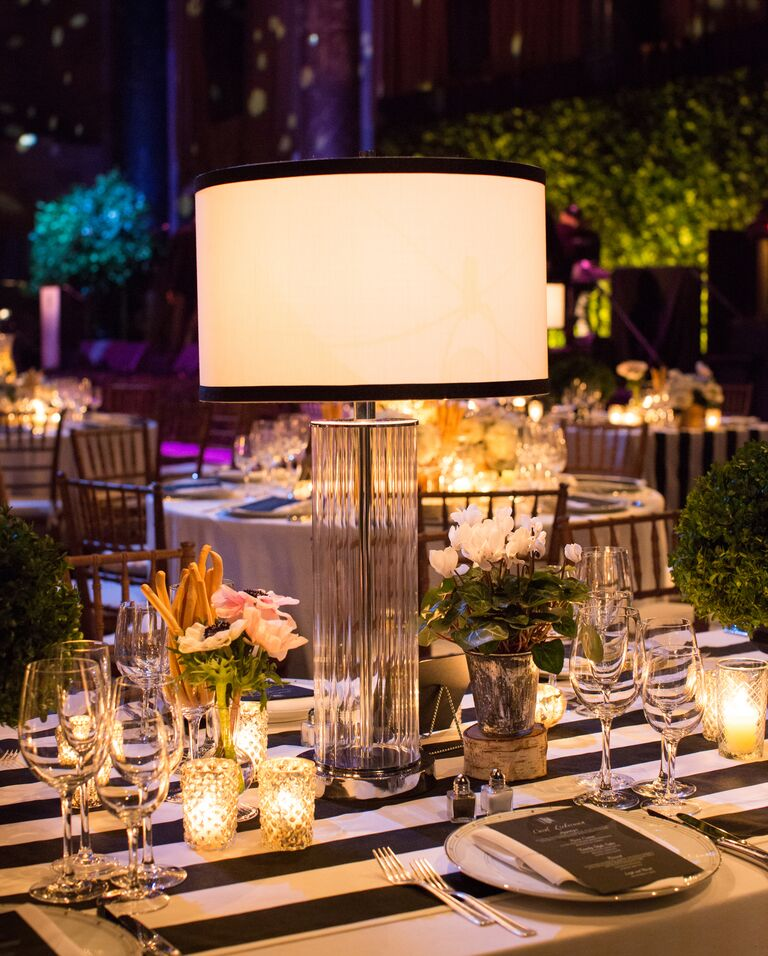 20 easy ways to decorate your wedding reception glamorous wedding reception with modern lamp centerpieces junglespirit Choice Image