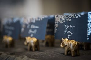 Navy Place Cards With Elephant Holders
