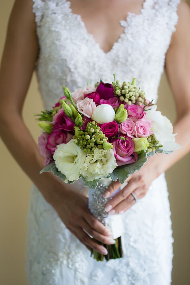 Pink and Green Bouquet with Roses