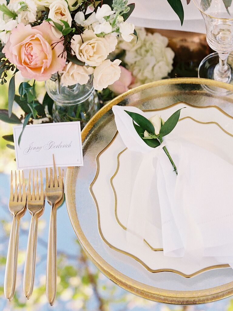 spring wedding centerpieces pastel flowers with gold accents