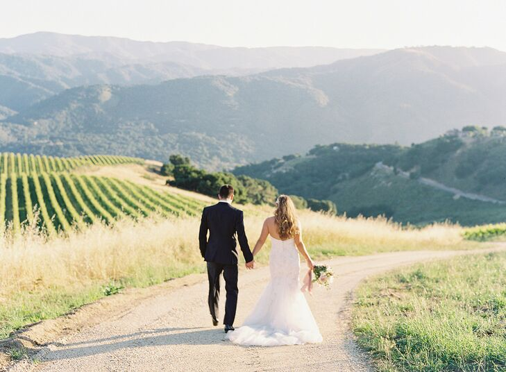 Bride and Groom Walking at Holman Ranch in Carmel Valley, California