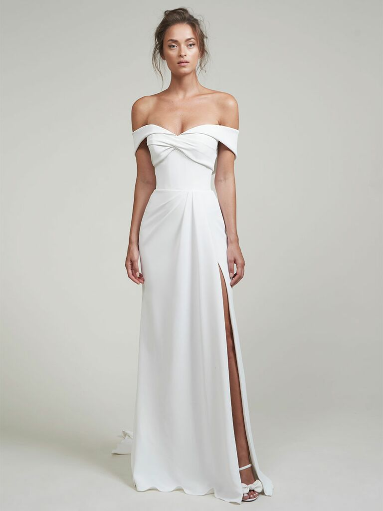 Lihi Hod wedding dress off-the-shoulder a-line dress with twisted front
