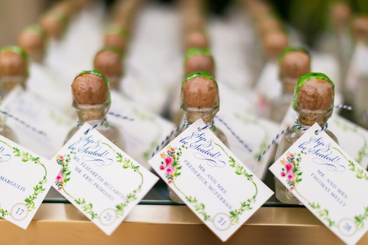 Mini Tequila Bottles with Escort Cards