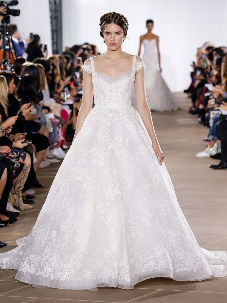 Ines Di Santo wedding dress ball gown with illusion cap sleeve