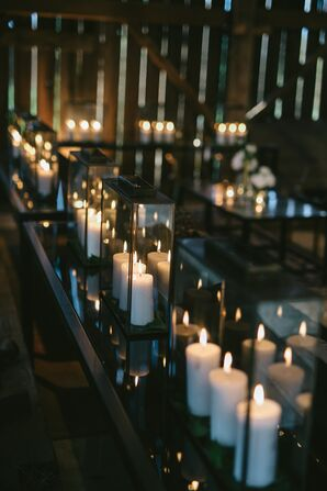 Vintage Black Lanterns with White Pillar Candles