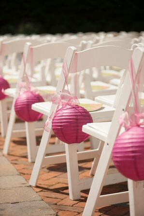 Pink Paper Lantern Aisle Decor