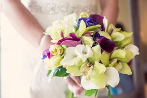 Purple and Green Calla Lily and Orchid Bouquet