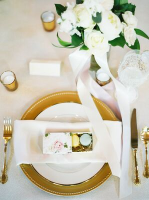 Gold and White Place Settings with Boxed Macaron Favors