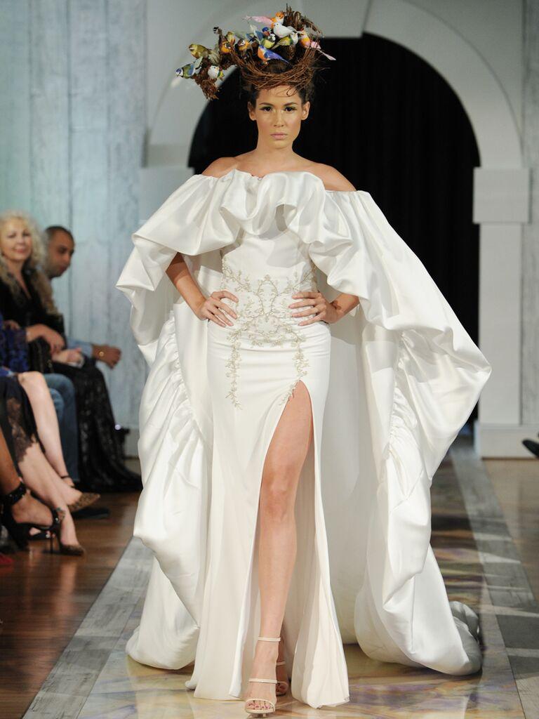 Dany Mizrachi Fall 2019 off-the-shoulder cape wedding dress