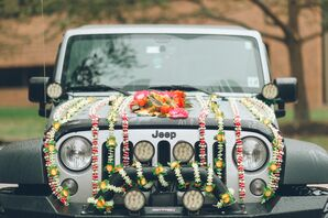 Traditional Indian Baraat with Modern Jeep and DIY Flowers