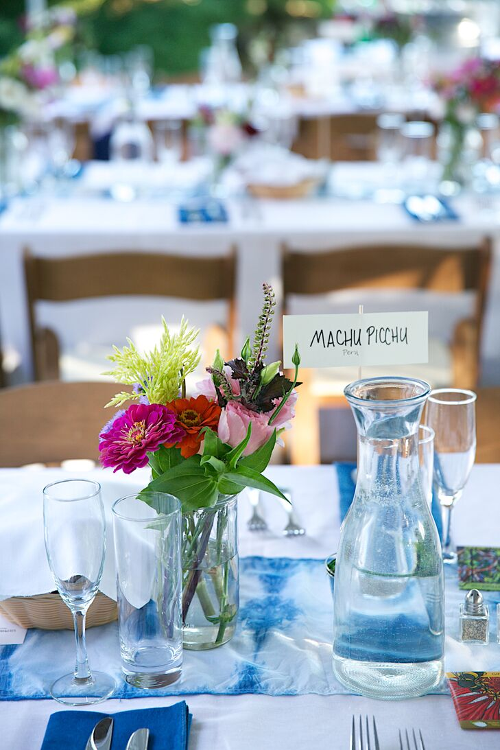 Bright Zinnia Centerpieces and Tie-Dyed Linens