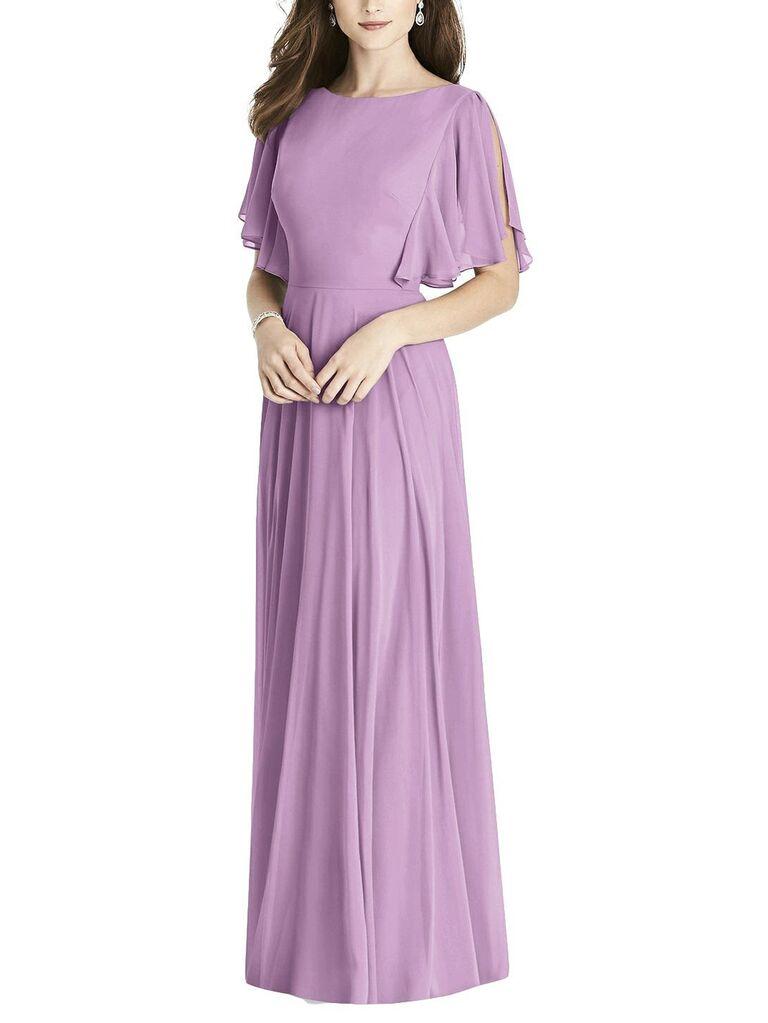 Long lilac bridesmaid dress