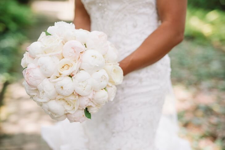 Classic, Tight Bouquet of White Peonies