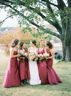 Classic Bridesmaids in Burgundy Dresses for Fall