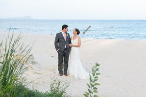 Gray Groom Suit With Blush Accents