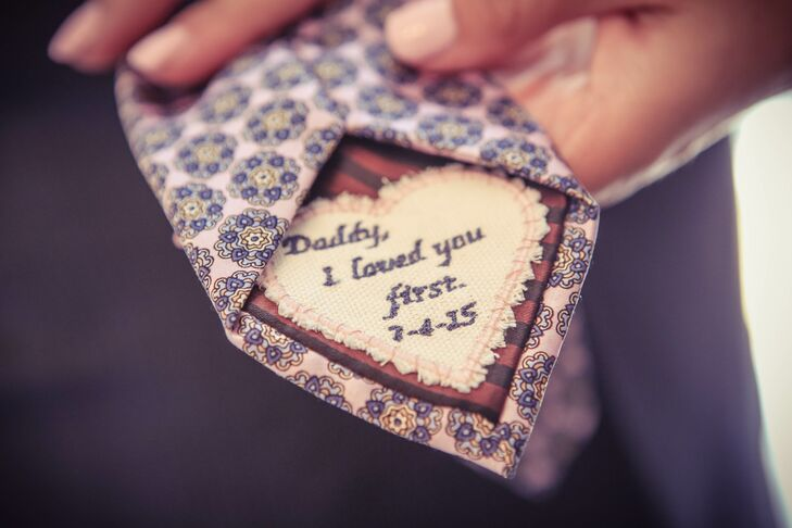 Shira sewed a personal message on the back of her father's tie.