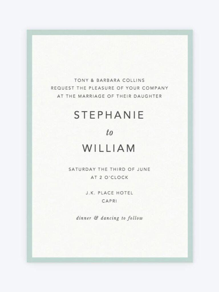 Papier spring wedding invitation with mint border
