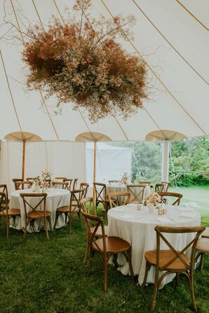 Sailcloth Tent with Hanging Floral Chanderlier