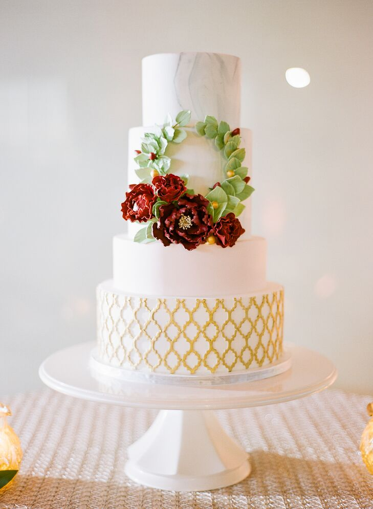 Preppy Tiered Round Wedding Cake with Honeycomb Pattern and Fondant Wreath
