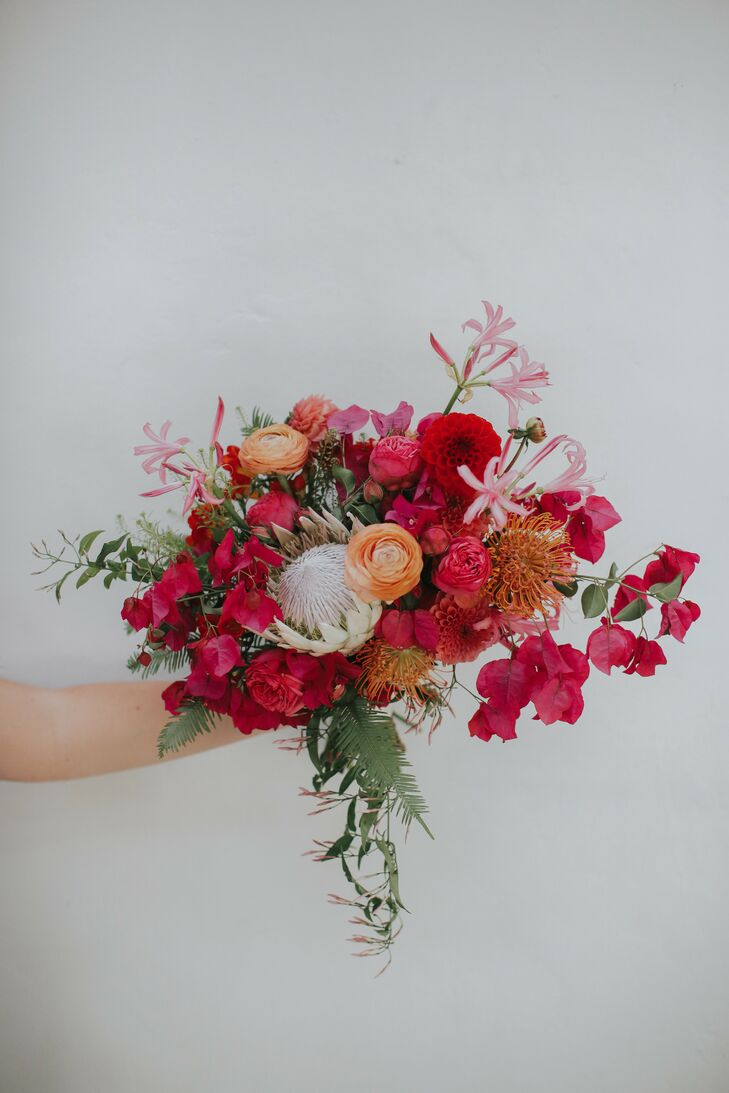 Bougainvillea-and-Protea Bouquet for Wedding at Ebell Long Beach in California