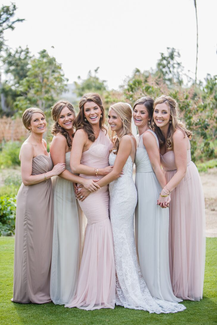 Katie opted for bridesmaid dresses in sand and blush tones from a variety of designers.