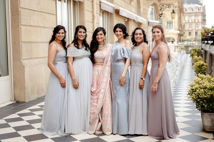 Bridesmaids in Light Blue Dresses for Wedding in San Sebastian, Spain