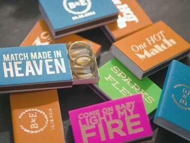 Customized matchbook wedding favors