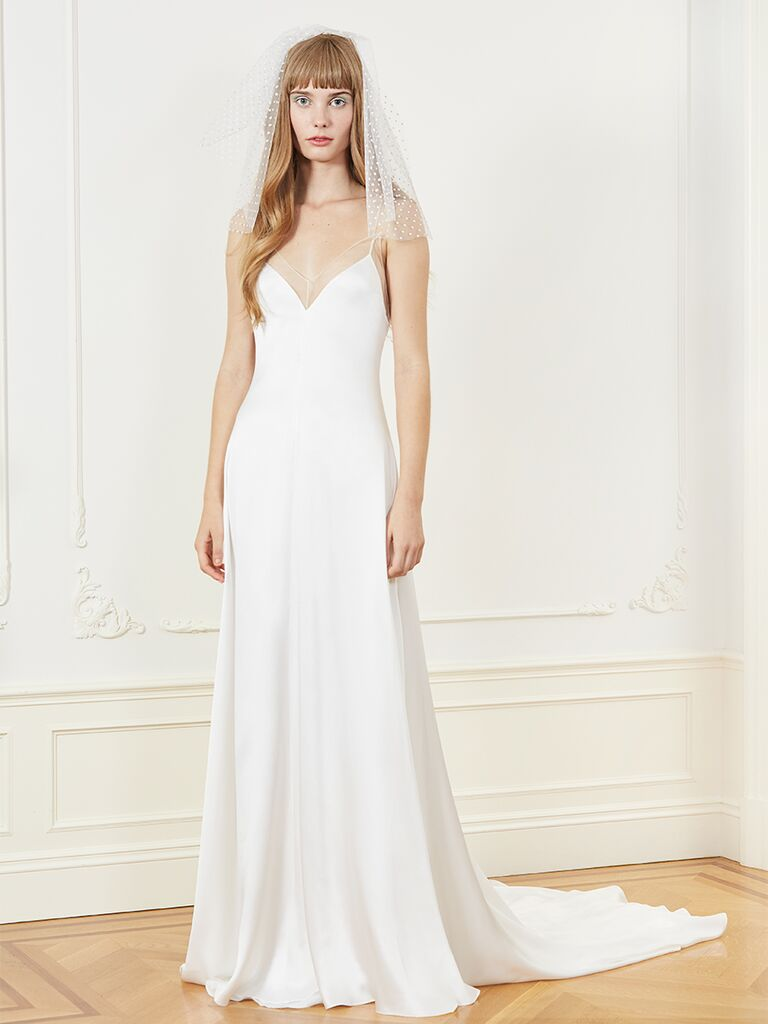 Honor A-line wedding dress with spaghetti straps and sheer neckline