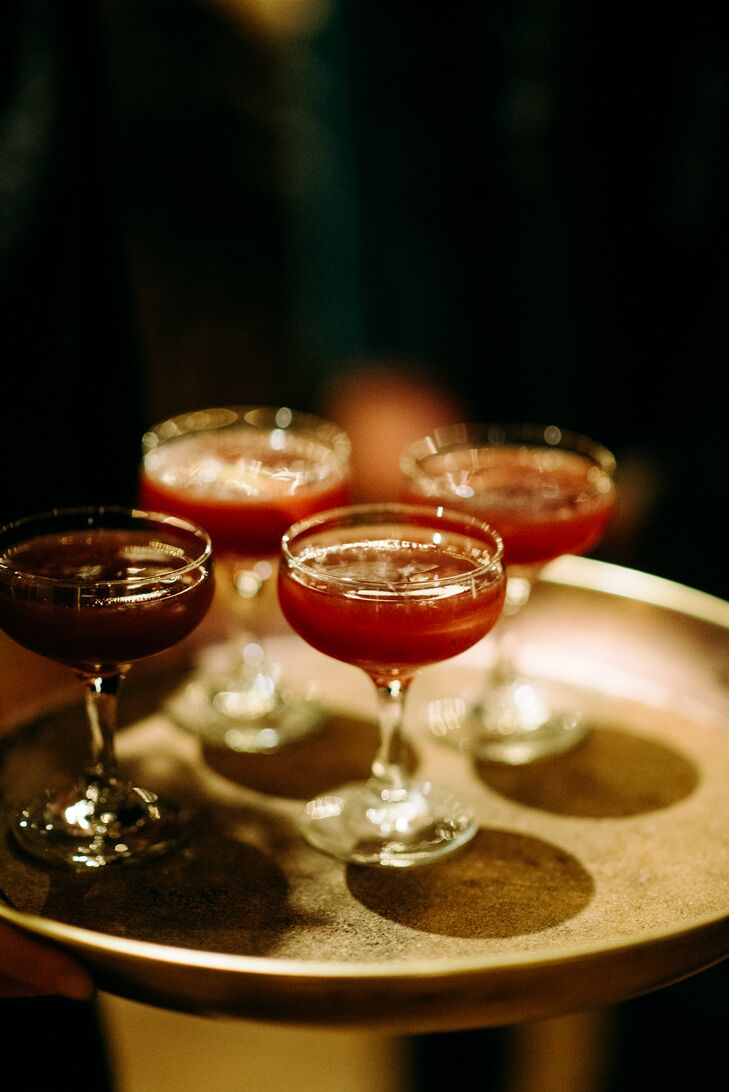 Cocktails in Classic Coupes at Modern Recepetion