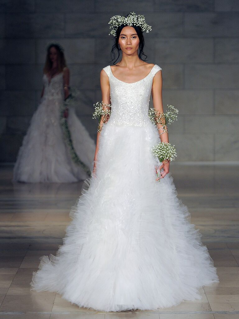 Reem Acra Fall 2018 paillettes embroidered gown with ruched skirt