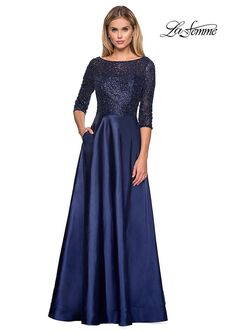 La Femme Evening 27077 Blue Mother Of The Bride Dress