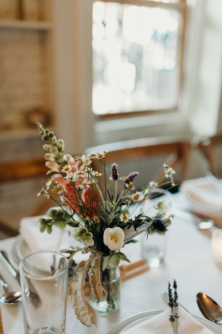 Foxglove, Lavender and Daisy Centerpieces