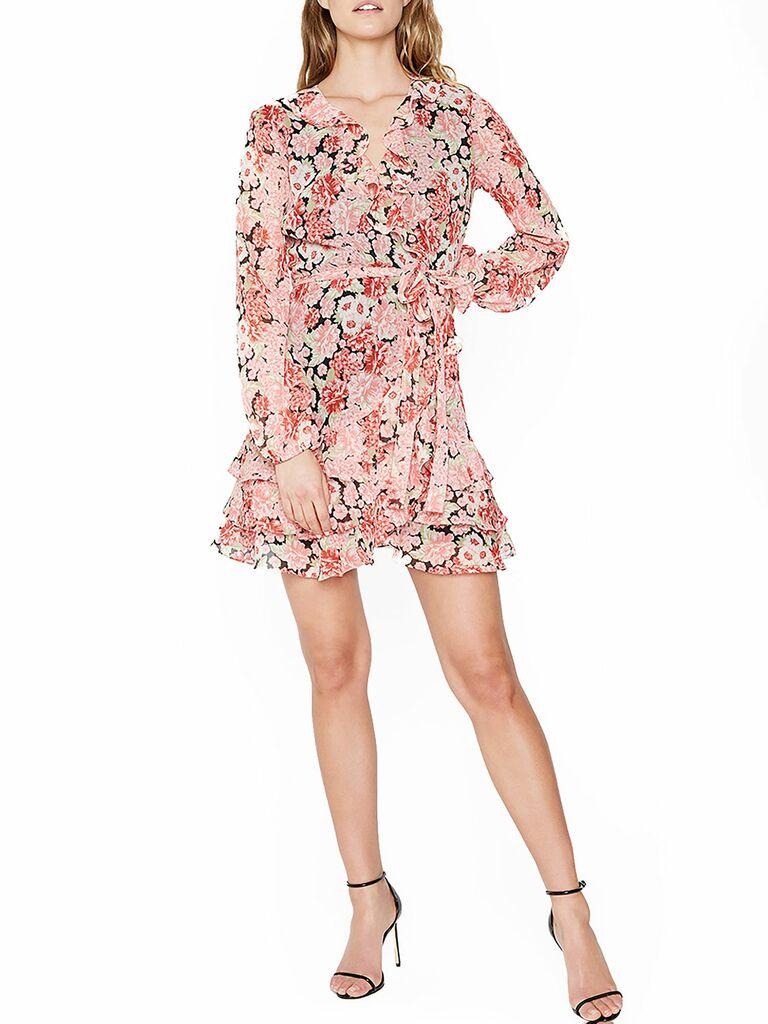 floral print ruffle mini dress with tie waist
