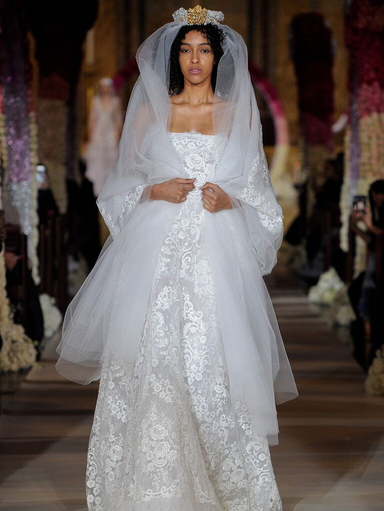 Reem Acra Spring 2020 Bridal Collection lace wedding dress with veil