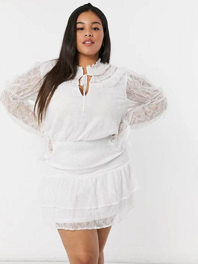White long sleeve mini dress with tie neck