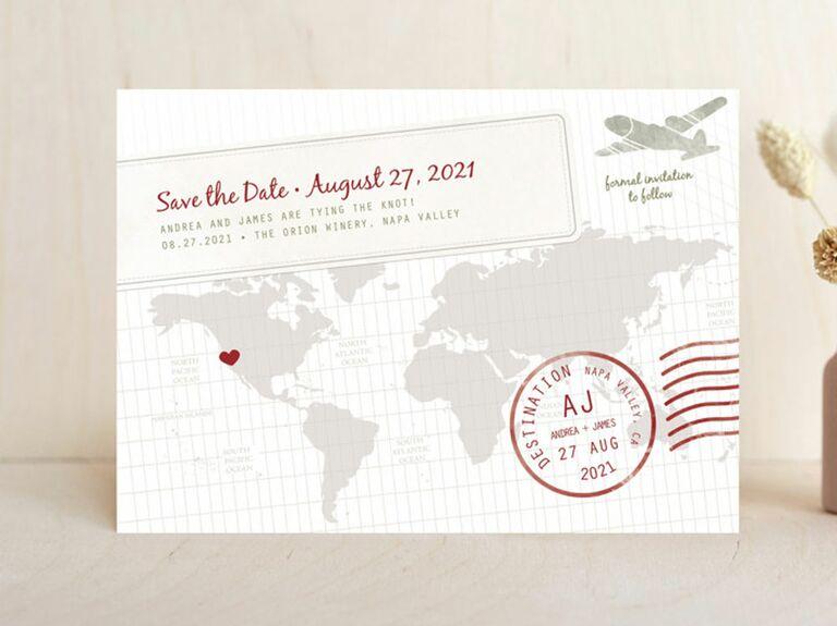 map destination wedding save the date