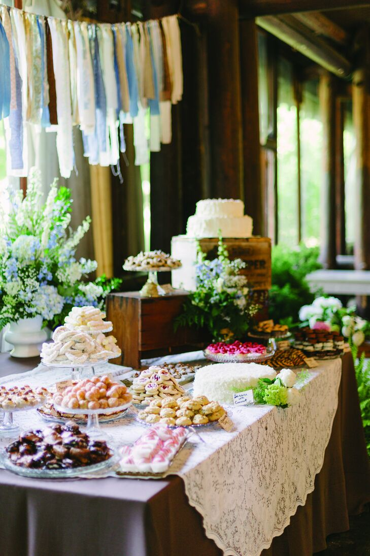 Serving local, organic food was a high priority for Kate and Jonah. This dessert table was made of a combination of sweets from local bakeries and homemade goodies from the bride's friends.