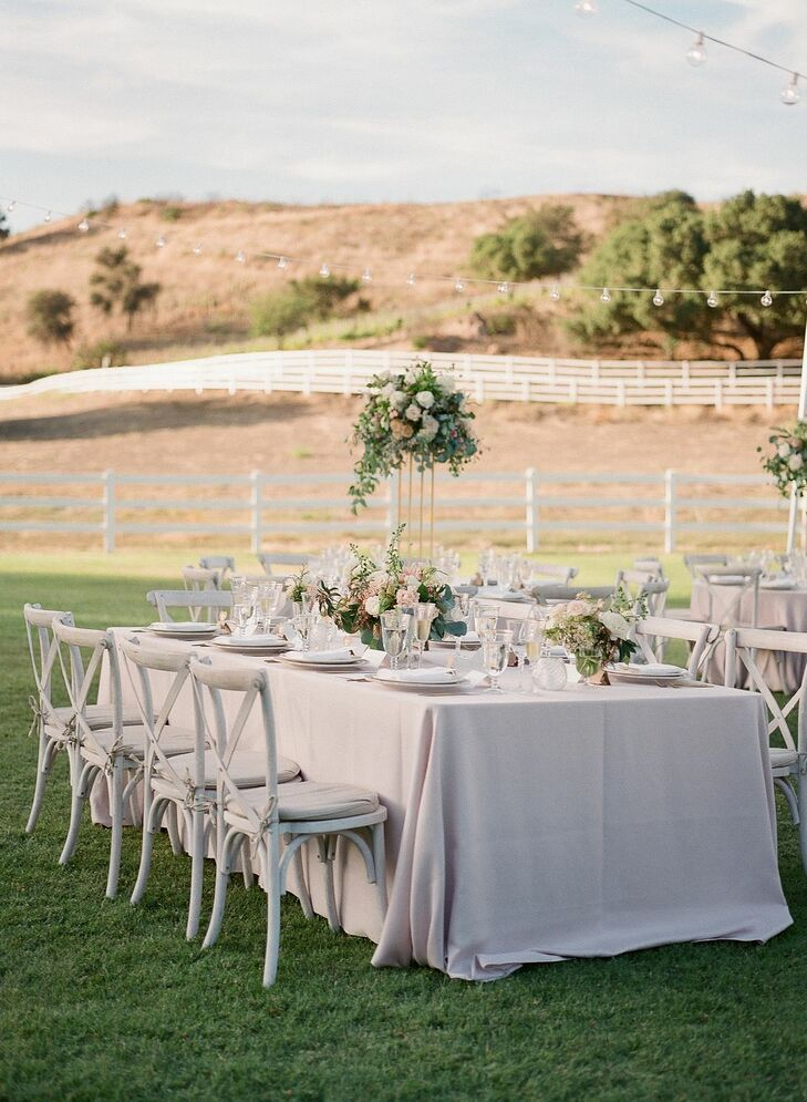 Romantic Reception Table at Saddlerock Ranch in Malibu, California