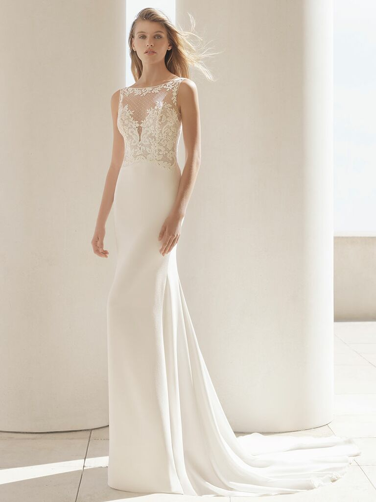 Rosa Clará Fall 2018 wedding dresses gown with sheer illusion bodice