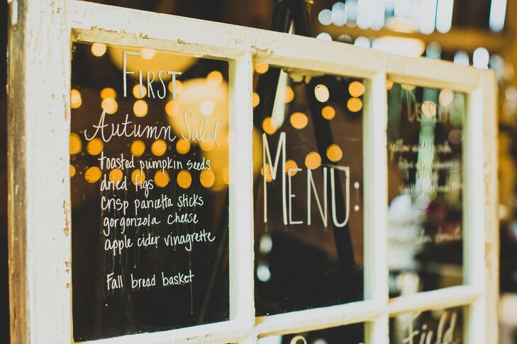 The menu for the night was handwritten on an old white window panel purchased at the Rebuilding Exchange in Chicago.